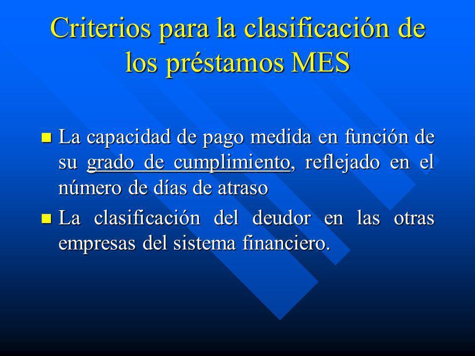 Criterios para la clasificación de los préstamos MES