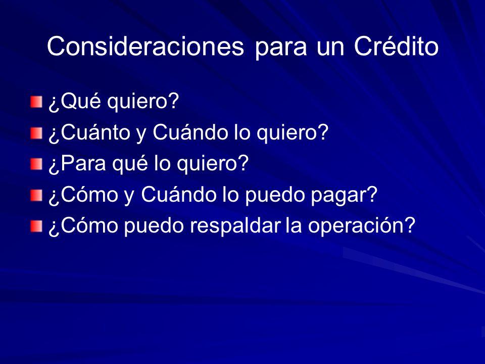 Consideraciones para un Crédito