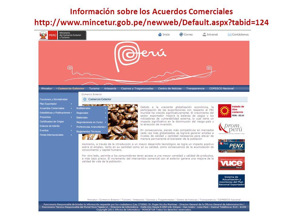 Información sobre los Acuerdos Comerciales http://www. mincetur. gob