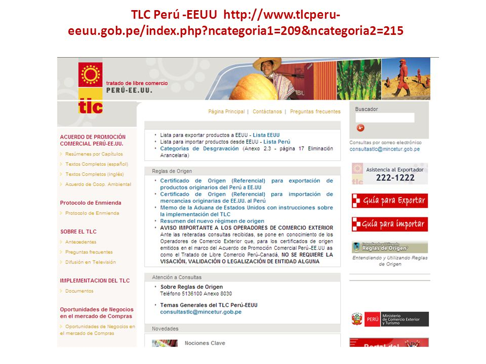 TLC Perú -EEUU http://www. tlcperu-eeuu. gob. pe/index. php