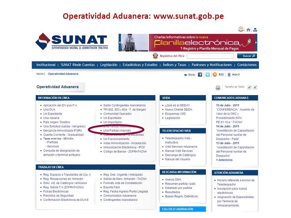 Operatividad Aduanera: www.sunat.gob.pe