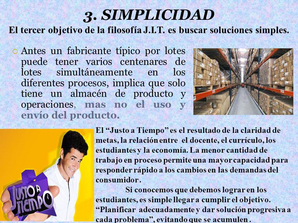 3. SIMPLICIDAD El tercer objetivo de la filosofía J.I.T. es buscar soluciones simples.