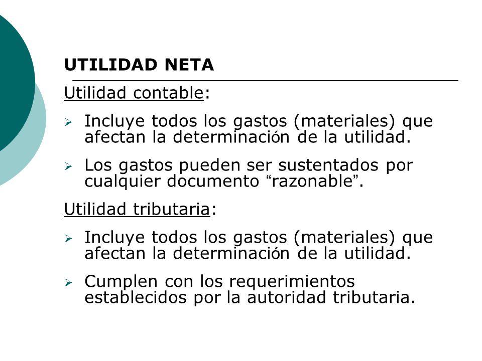 UTILIDAD NETA Utilidad contable: Incluye todos los gastos (materiales) que afectan la determinación de la utilidad.