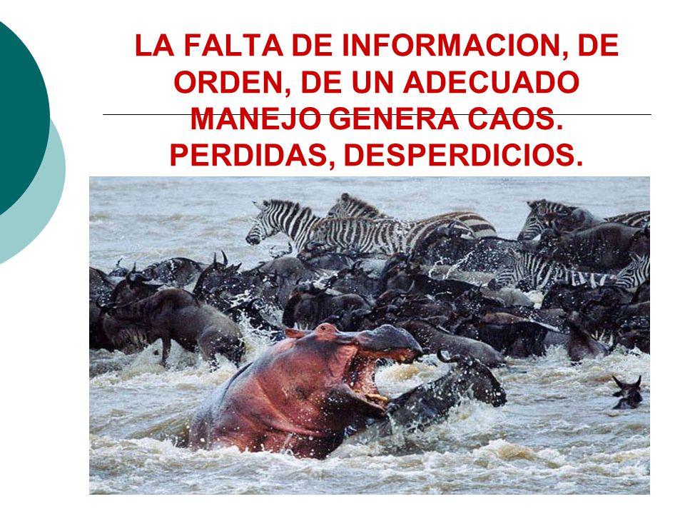 LA FALTA DE INFORMACION, DE ORDEN, DE UN ADECUADO MANEJO GENERA CAOS