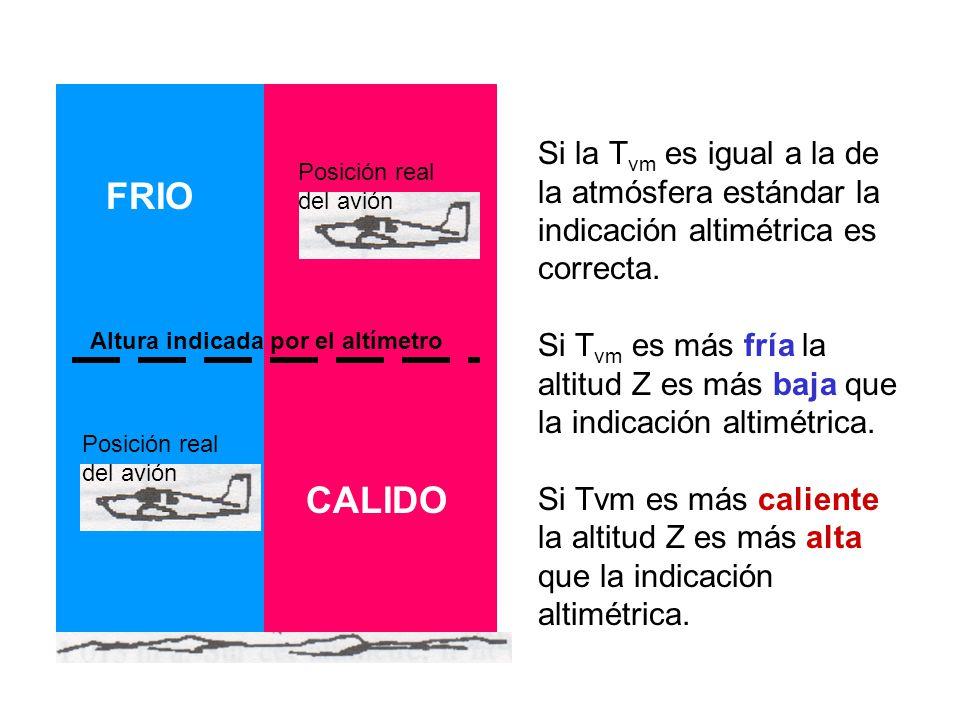 Si la Tvm es igual a la de la atmósfera estándar la indicación altimétrica es correcta.