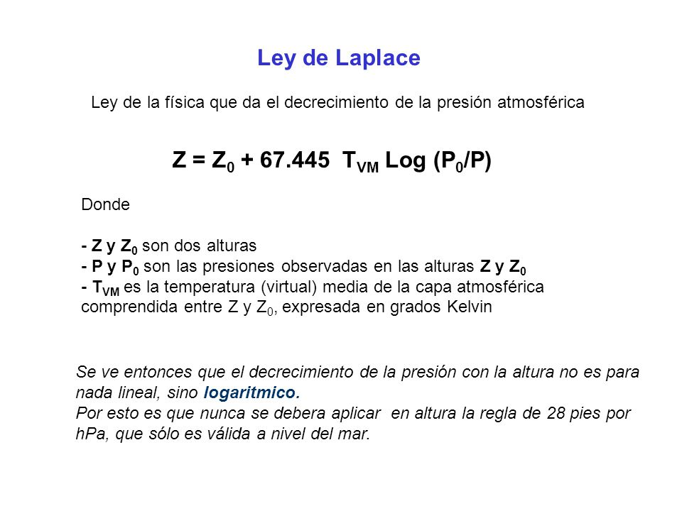 Ley de Laplace Z = Z0 + 67.445 TVM Log (P0/P)