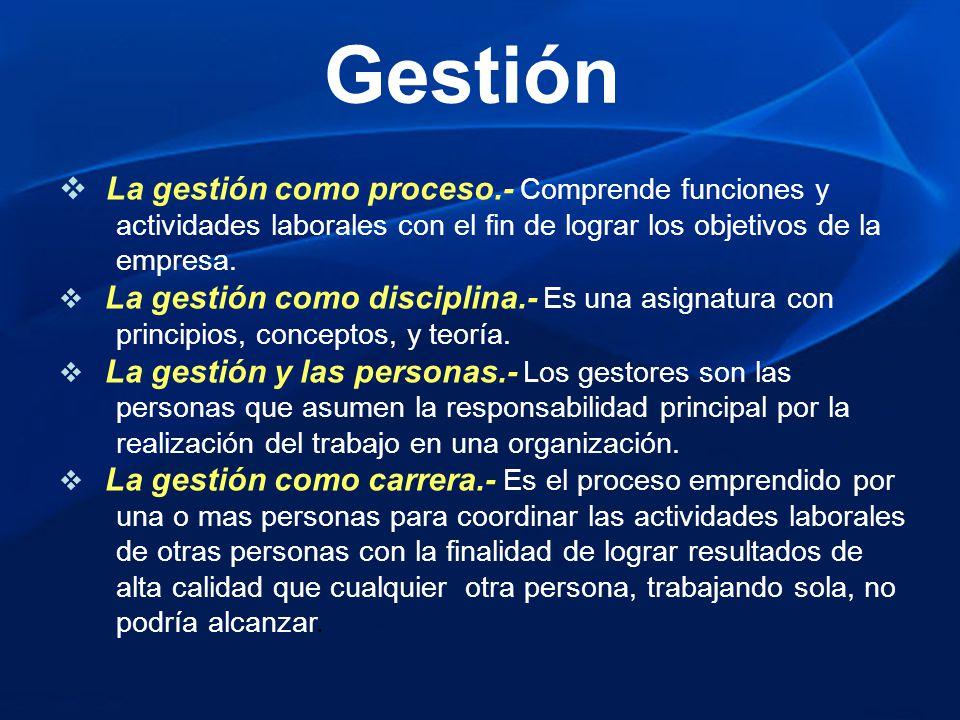 Gestión La gestión como proceso.- Comprende funciones y
