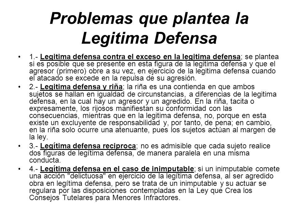 Problemas que plantea la Legitima Defensa
