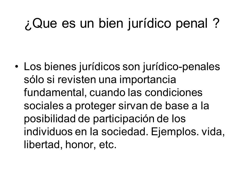 ¿Que es un bien jurídico penal