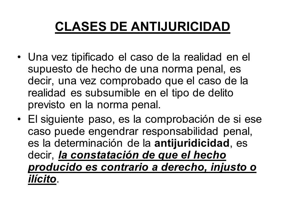 CLASES DE ANTIJURICIDAD