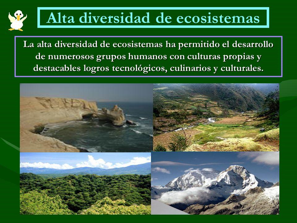 Alta diversidad de ecosistemas