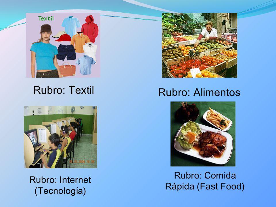 Rubro: Textil Rubro: Alimentos Rubro: Comida Rápida (Fast Food)