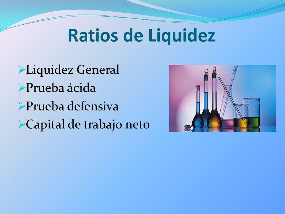 Ratios de Liquidez Liquidez General Prueba ácida Prueba defensiva