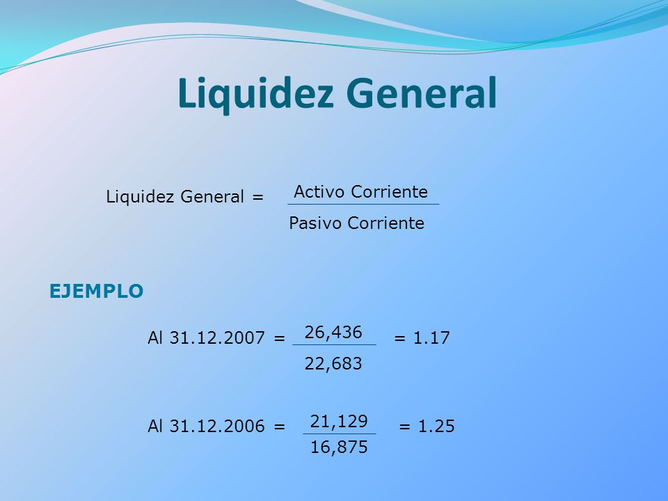 Liquidez General EJEMPLO Liquidez General = Activo Corriente