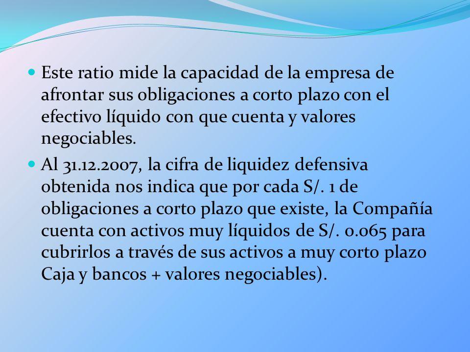 Este ratio mide la capacidad de la empresa de afrontar sus obligaciones a corto plazo con el efectivo líquido con que cuenta y valores negociables.