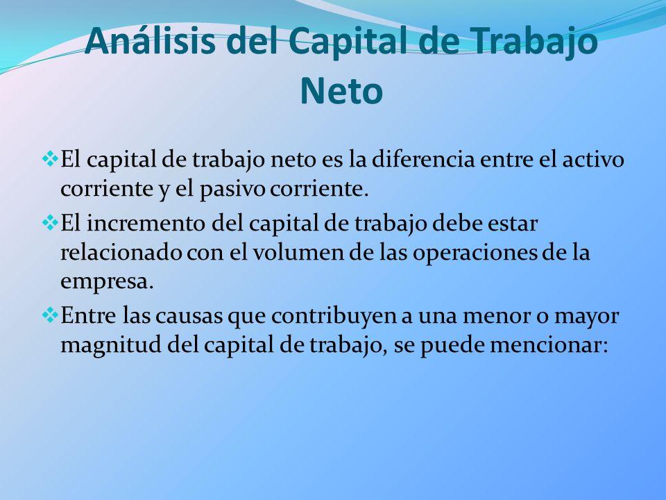 Análisis del Capital de Trabajo Neto