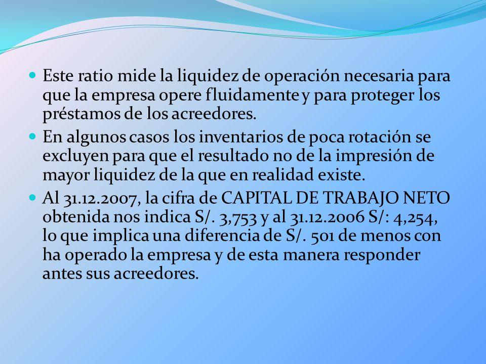 Este ratio mide la liquidez de operación necesaria para que la empresa opere fluidamente y para proteger los préstamos de los acreedores.