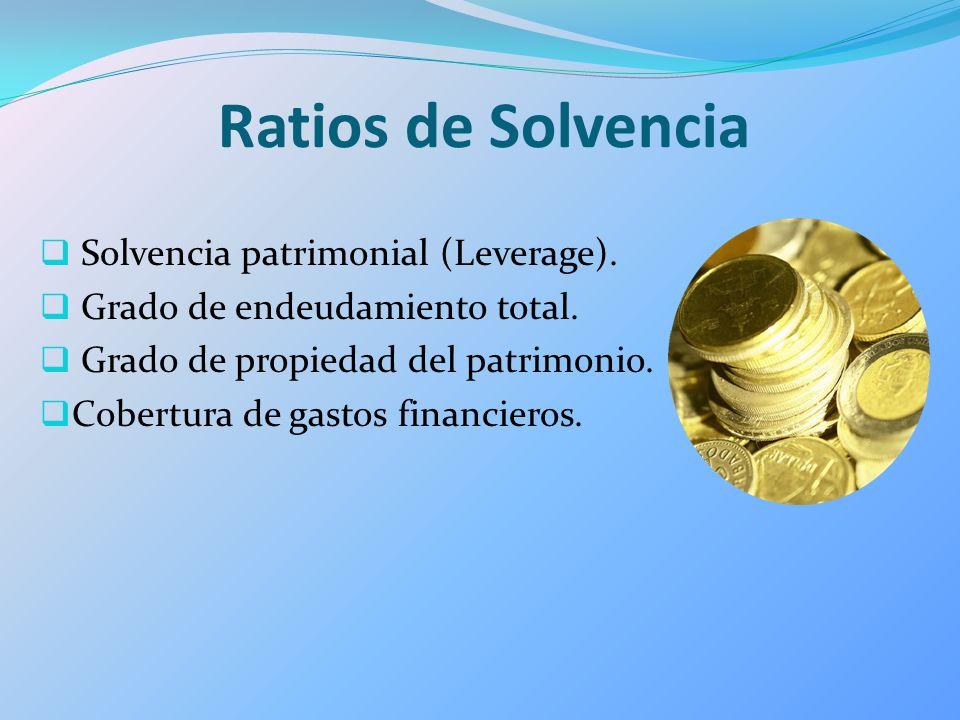 Ratios de Solvencia Solvencia patrimonial (Leverage).