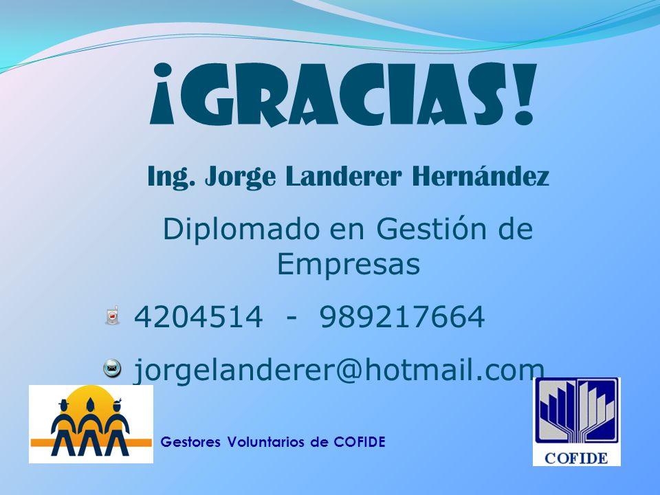¡GRACIAS! Ing. Jorge Landerer Hernández