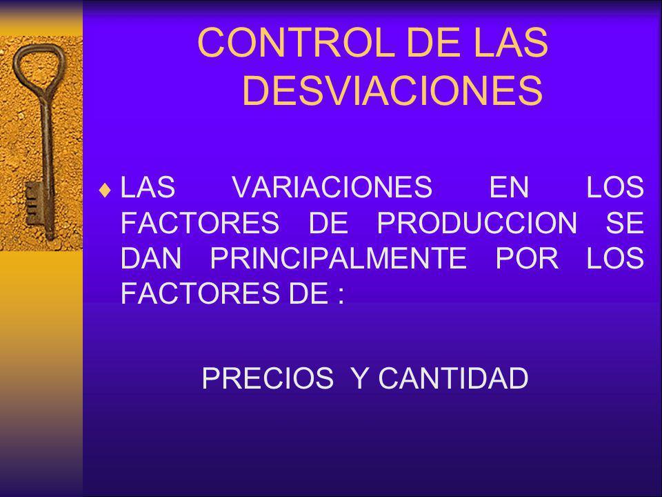 CONTROL DE LAS DESVIACIONES