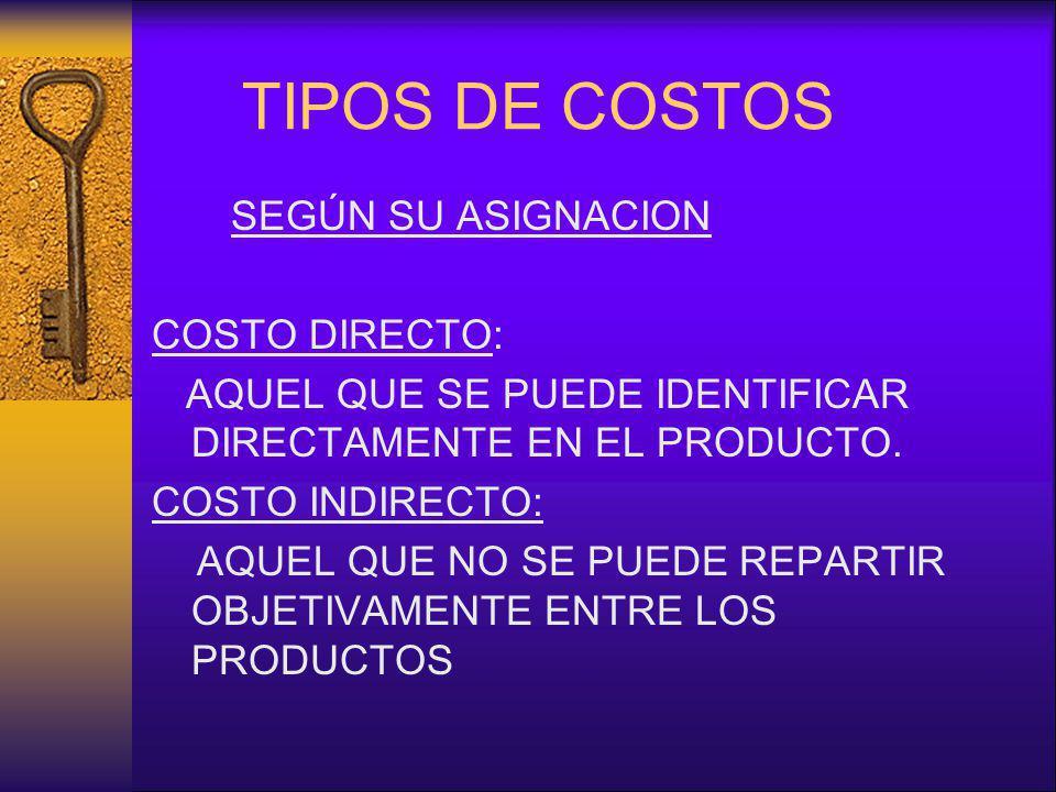 TIPOS DE COSTOS SEGÚN SU ASIGNACION COSTO DIRECTO: