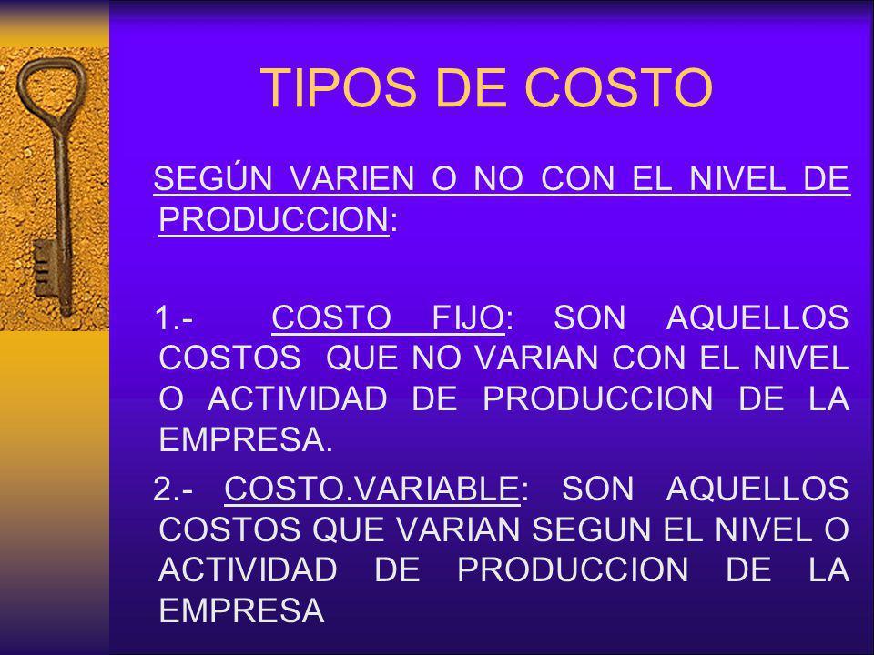 TIPOS DE COSTO SEGÚN VARIEN O NO CON EL NIVEL DE PRODUCCION: