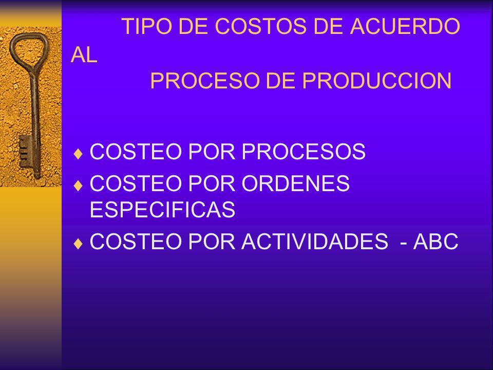 TIPO DE COSTOS DE ACUERDO AL PROCESO DE PRODUCCION