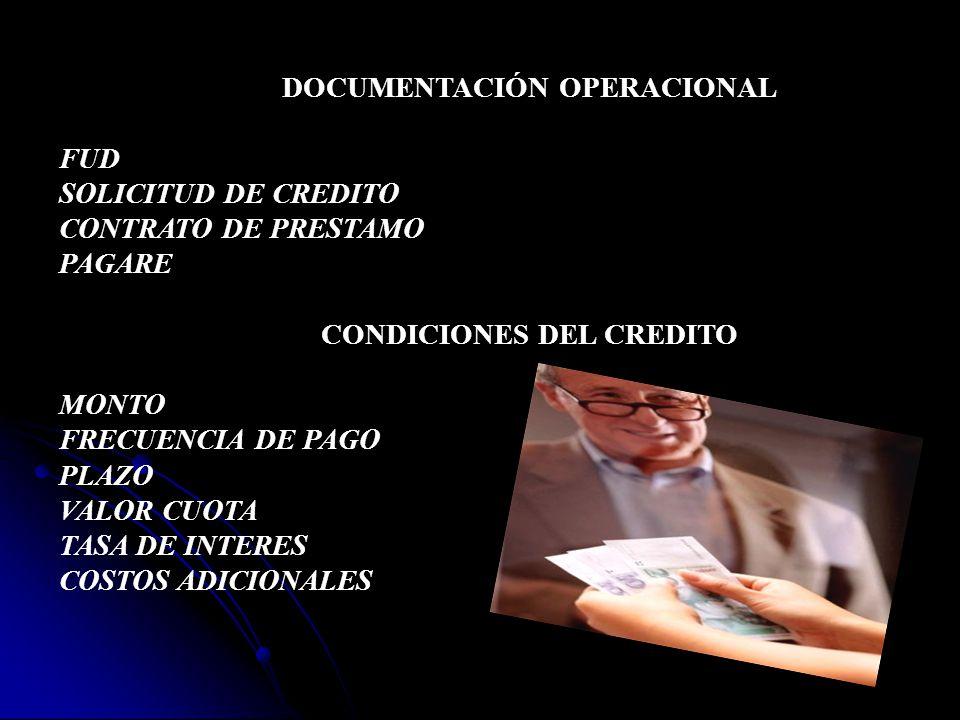 DOCUMENTACIÓN OPERACIONAL CONDICIONES DEL CREDITO