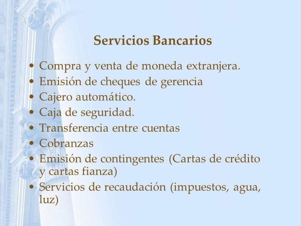 Servicios Bancarios Compra y venta de moneda extranjera.