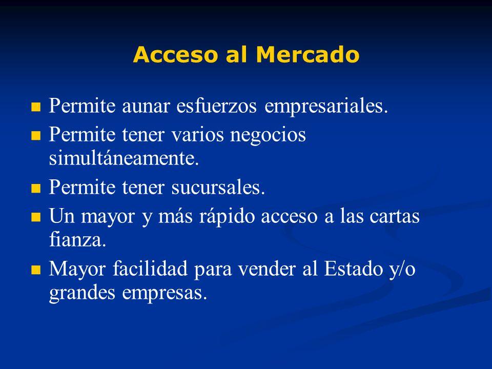 Acceso al Mercado Permite aunar esfuerzos empresariales. Permite tener varios negocios simultáneamente.