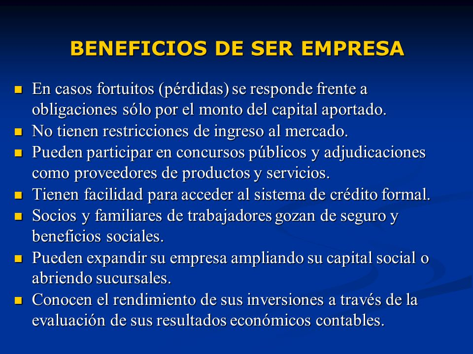 BENEFICIOS DE SER EMPRESA