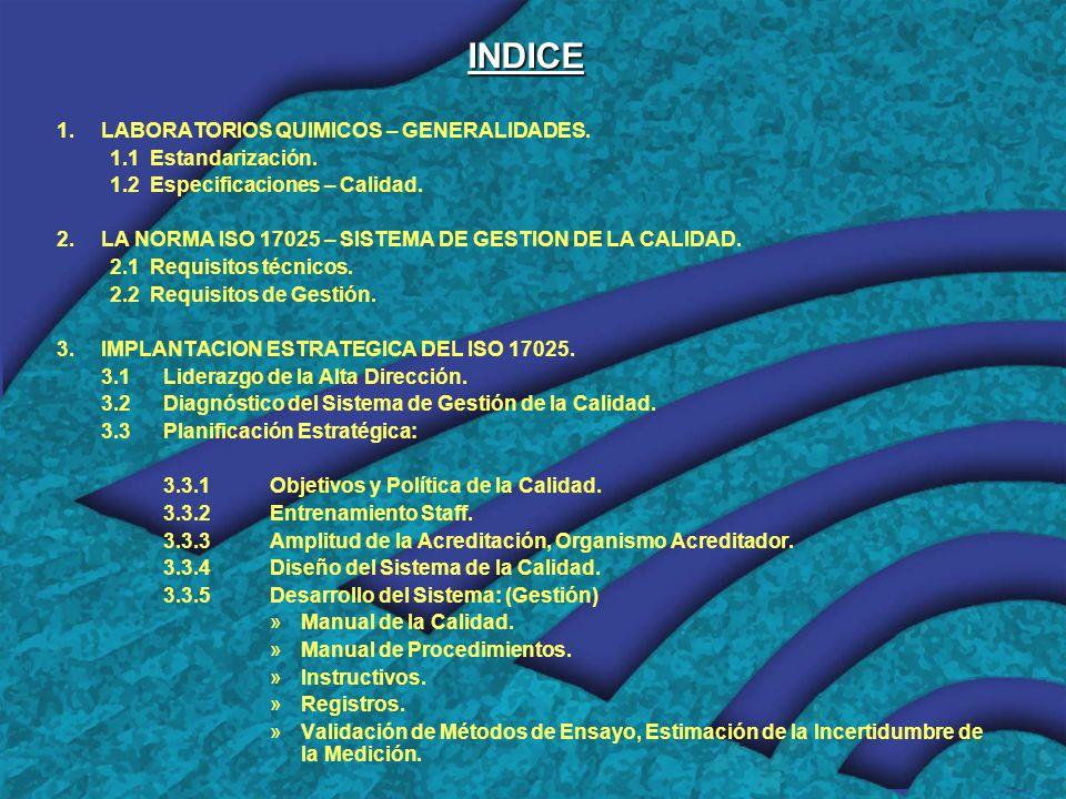 INDICE LABORATORIOS QUIMICOS – GENERALIDADES. 1.1 Estandarización.