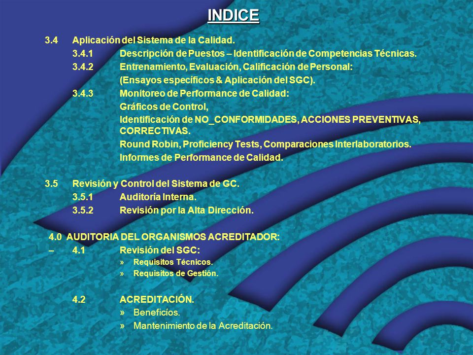 INDICE 3.4 Aplicación del Sistema de la Calidad.