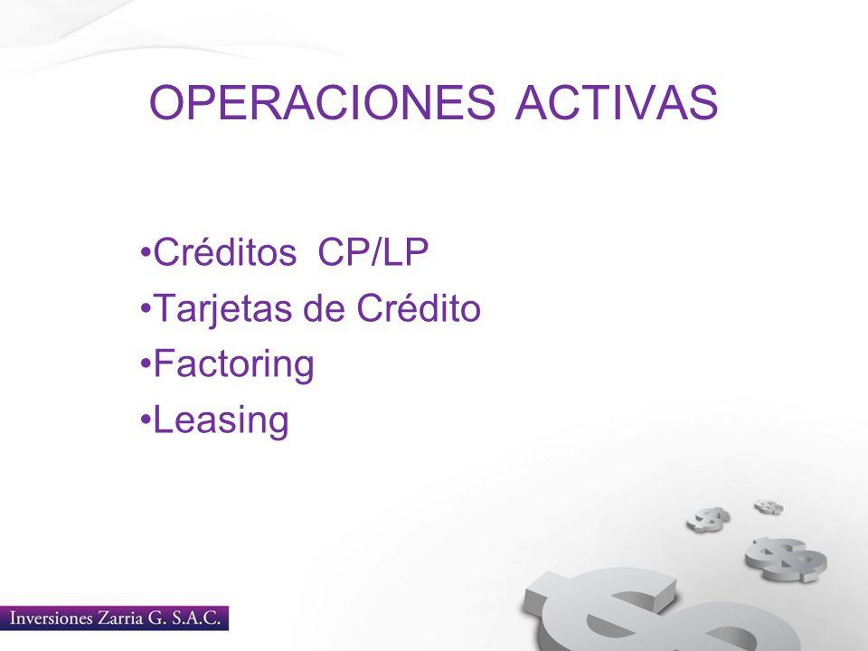 Créditos CP/LP Tarjetas de Crédito Factoring Leasing