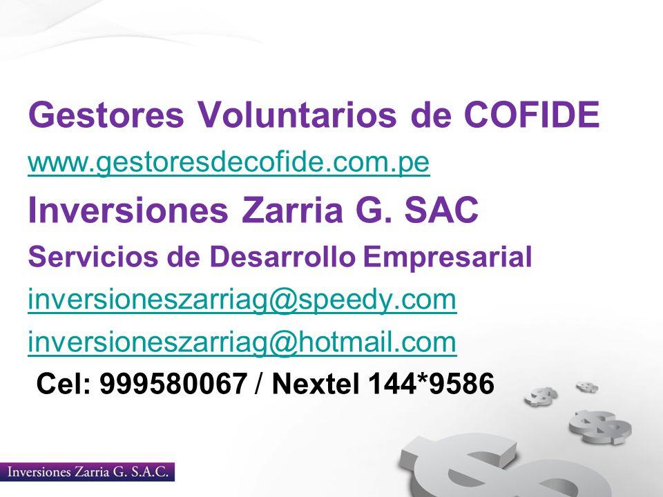 Gestores Voluntarios de COFIDE Inversiones Zarria G. SAC