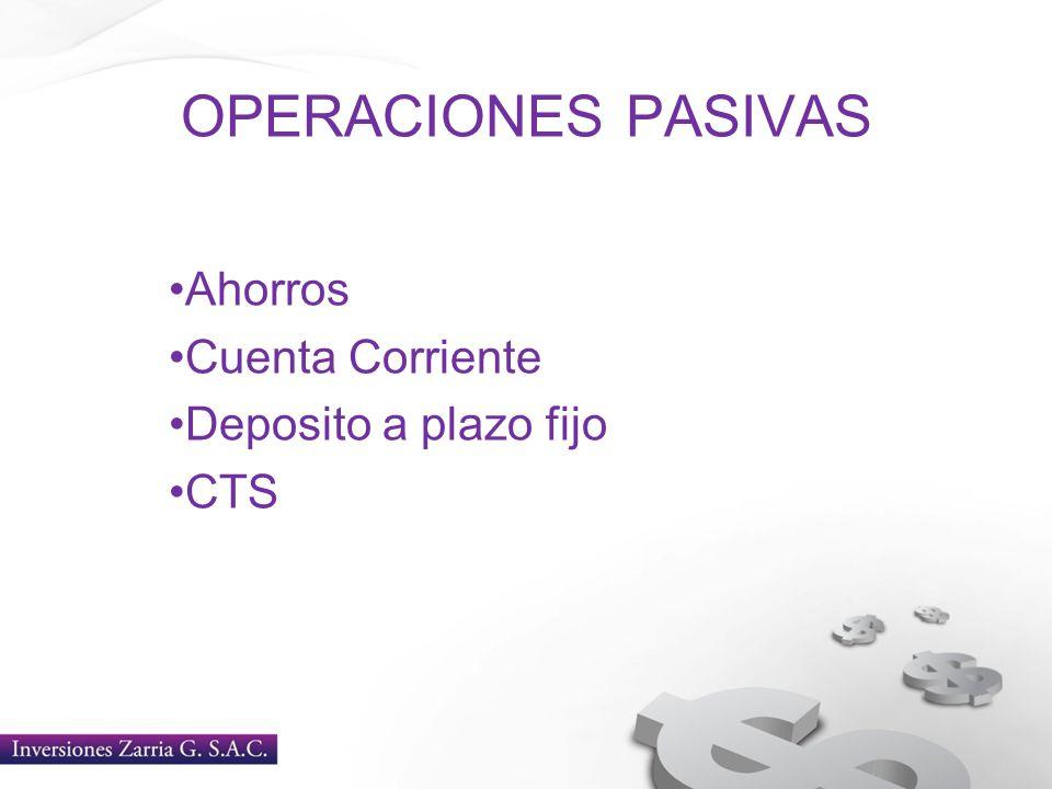 Ahorros Cuenta Corriente Deposito a plazo fijo CTS