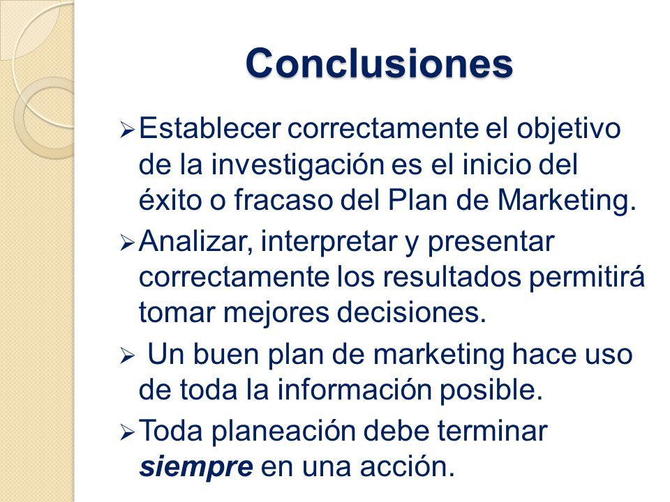 Conclusiones Establecer correctamente el objetivo de la investigación es el inicio del éxito o fracaso del Plan de Marketing.