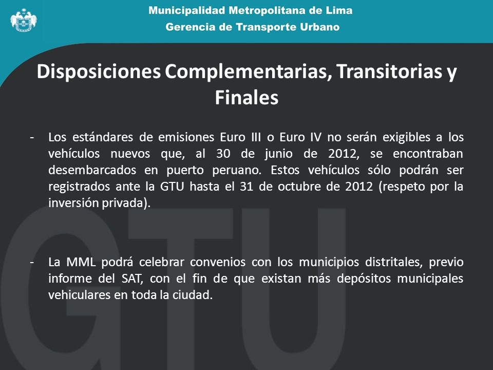 Disposiciones Complementarias, Transitorias y Finales