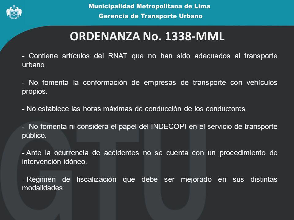 ORDENANZA No. 1338-MML - Contiene artículos del RNAT que no han sido adecuados al transporte urbano.