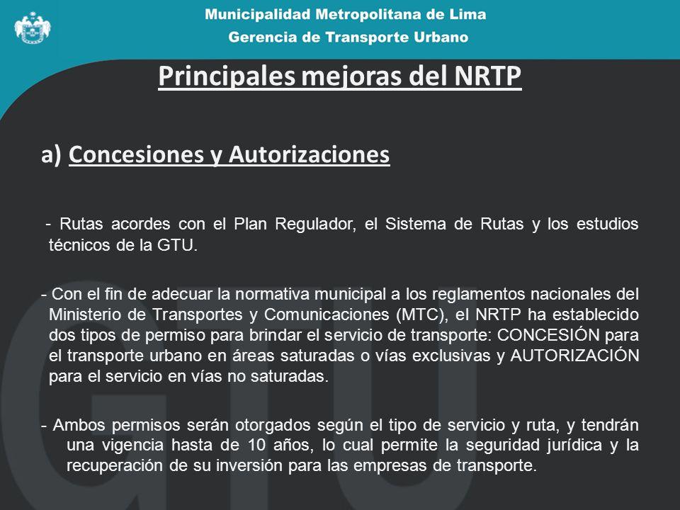Principales mejoras del NRTP