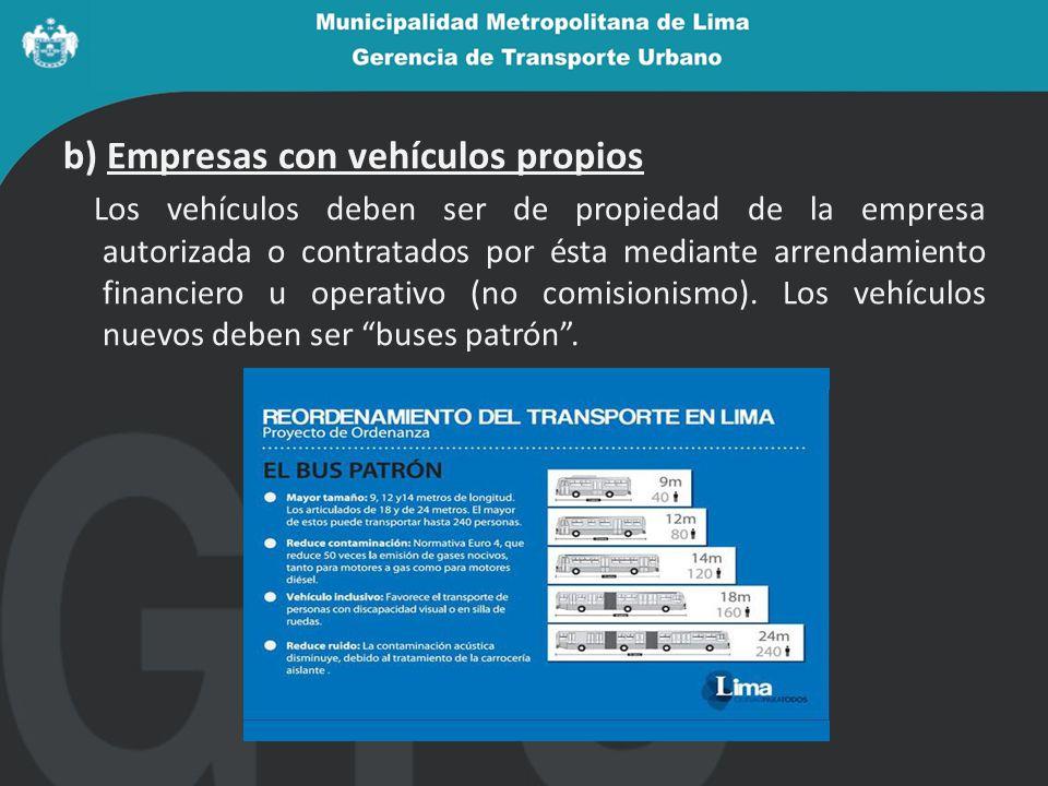 b) Empresas con vehículos propios