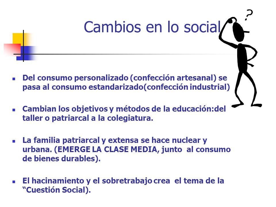 Cambios en lo social Del consumo personalizado (confección artesanal) se pasa al consumo estandarizado(confección industrial)