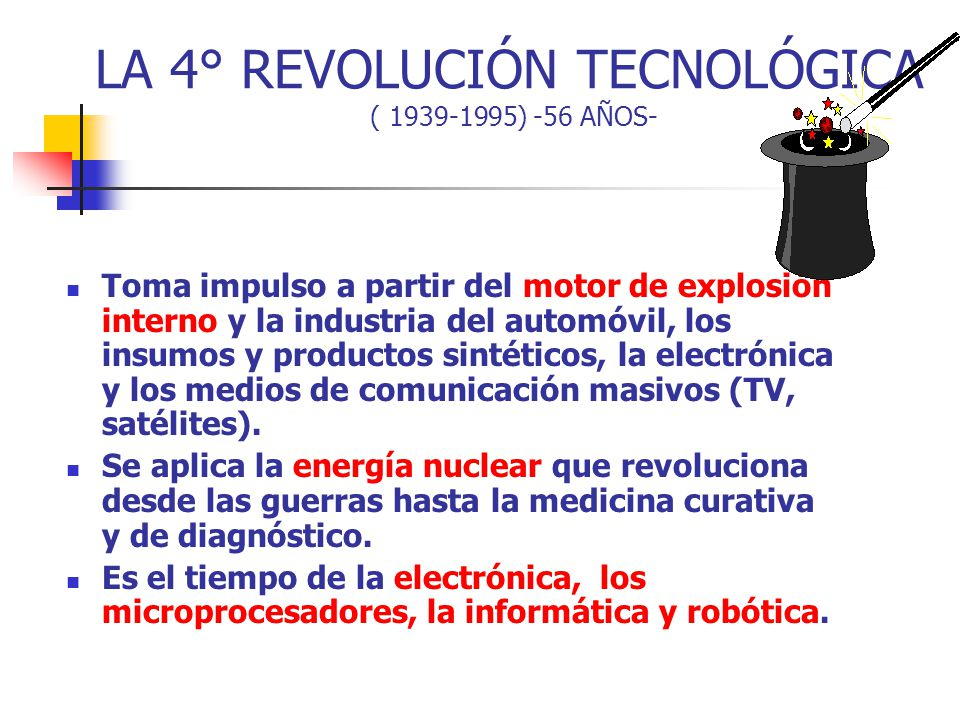LA 4° REVOLUCIÓN TECNOLÓGICA ( 1939-1995) -56 AÑOS-
