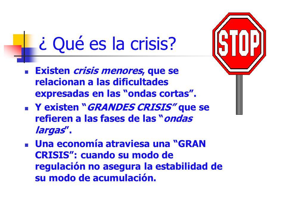 ¿ Qué es la crisis Existen crisis menores, que se relacionan a las dificultades expresadas en las ondas cortas .