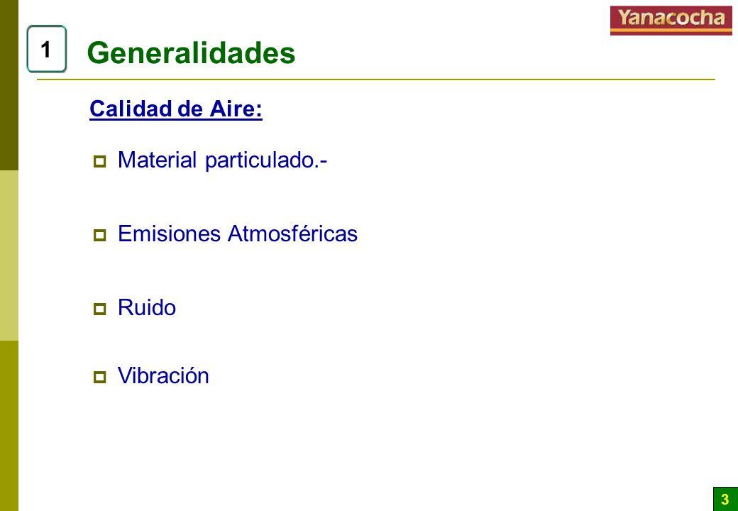 Generalidades 1 Calidad de Aire: Material particulado.-