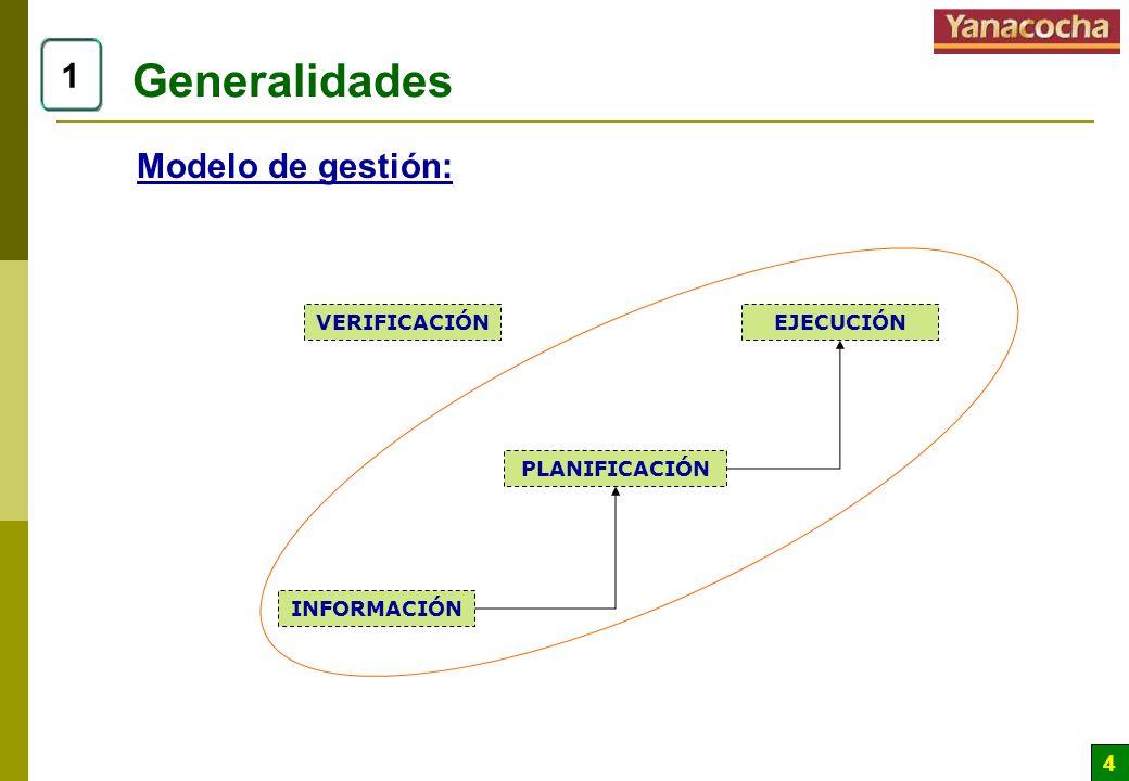 Generalidades 1 Modelo de gestión: VERIFICACIÓN EJECUCIÓN