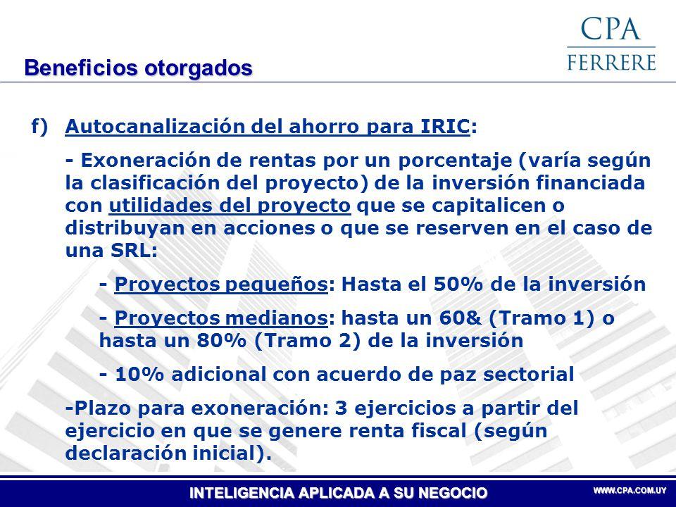 Beneficios otorgados f) Autocanalización del ahorro para IRIC: