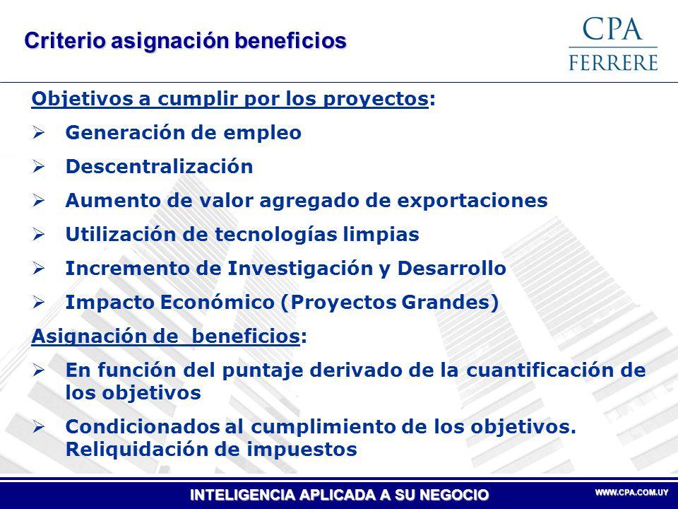 Criterio asignación beneficios