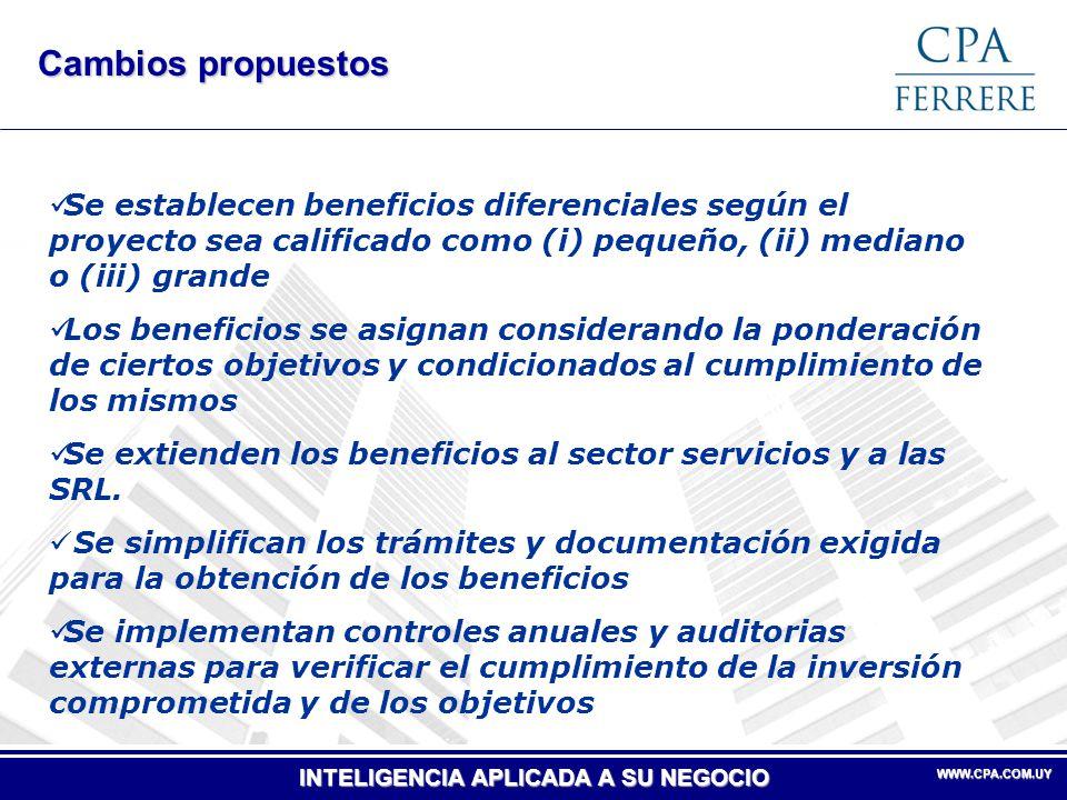Cambios propuestos Se establecen beneficios diferenciales según el proyecto sea calificado como (i) pequeño, (ii) mediano o (iii) grande.