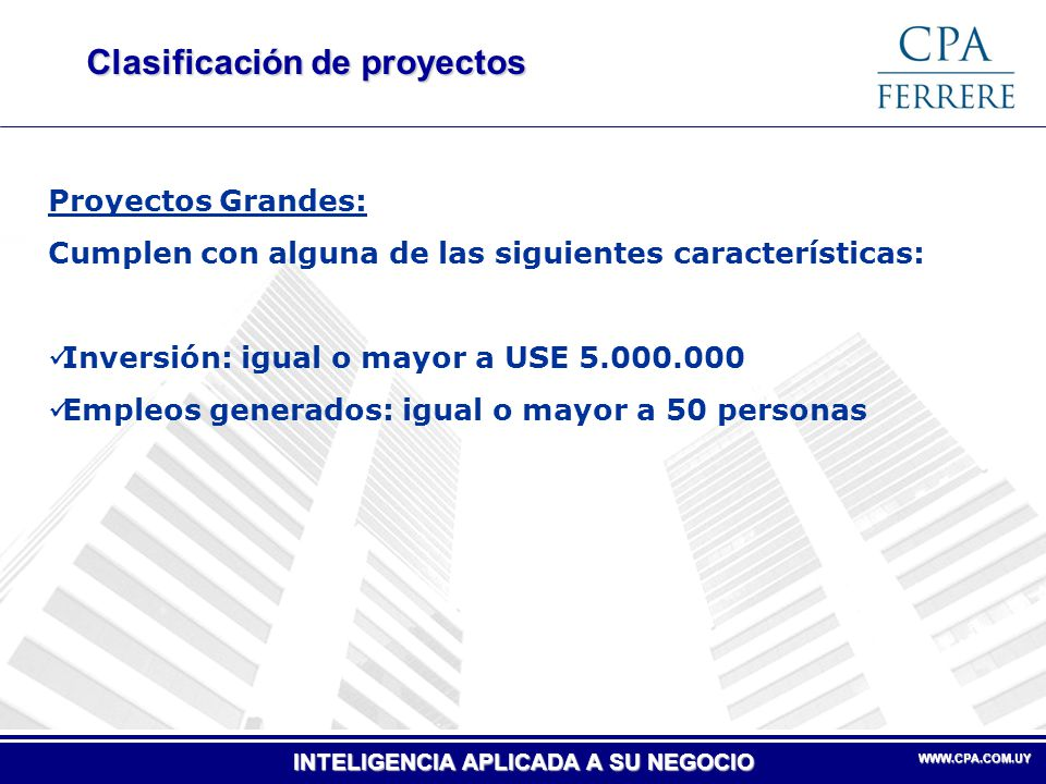 Clasificación de proyectos
